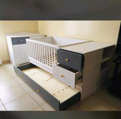 Baby cot with drawers image 1