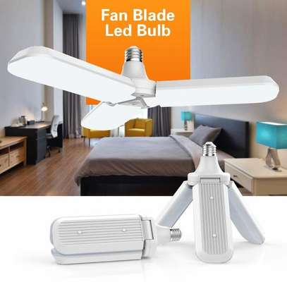 Foldable Fan Blade LED Bulb, Super Bright 6500K Energy Saving Lamp for Household and Hallway image 2
