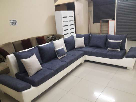 Great blue-white L-shape sofa, 5 or 7 seater image 2