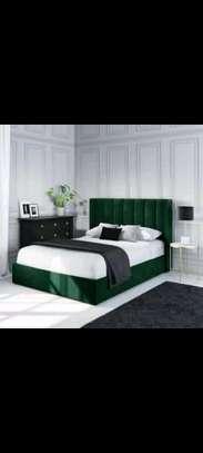 Handsome Modern Quality Upholstered 5by6 Hardwood Bed image 1