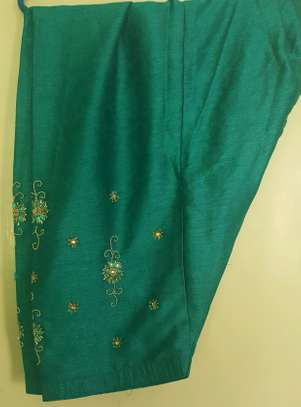 Beautiful green embroidered and stone design attire image 3