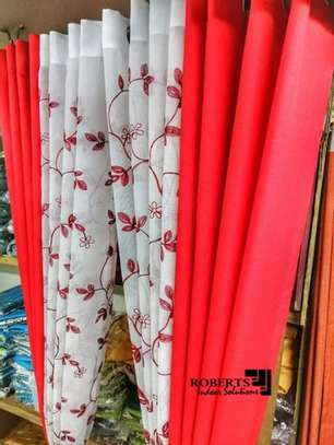 curtains  red with flowery curtains image 1
