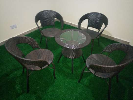 4 piece rattan balcony chairs image 1