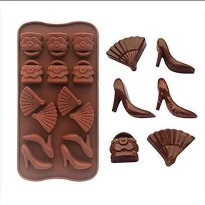 Silicone Handbag/Shoe/Fan Chocolate Mould | Ice/Jelly Shape Tray image 1