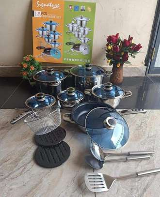 18pcs stainless Steel cookware set image 1