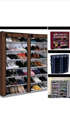 Brown double shoe rack image 1