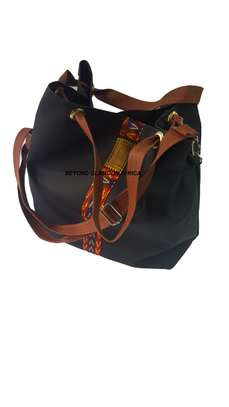 Ladies Brown Leather Handbag With Ankara Strip