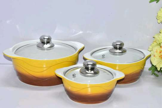 3pcs Ceramic Serving Dishes with Glass Cover image 2