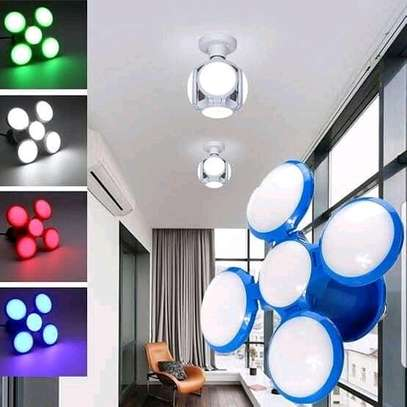 Five-leaves Foldable Football Shape UFO 120 LED Light Bulb for Home Indoor Use image 1