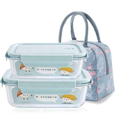 2 Compartment Microwave Glass food container set with Insulated lunch bag image 2