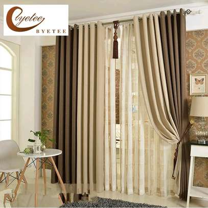 Plain fabrics curtains suitable for your living room image 1