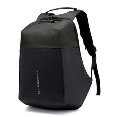 AntiTheft Backpack with USB charging And Code Lock Password - Black - One size image 1