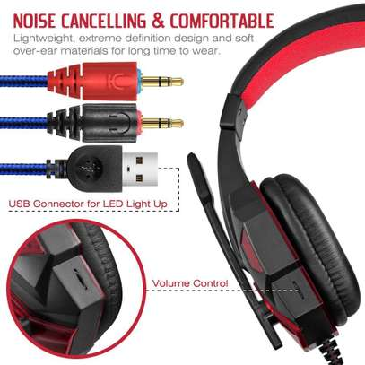 Plextone Gaming Headset for PS4 X Box PC GAMING  Noise Isolation Gaming Headphones  With hd mic and led - Black and red) image 6
