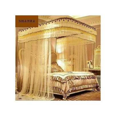 Two stand mosquito net with sliding rails cream image 1