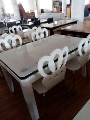 All white 4 seater dining table image 1