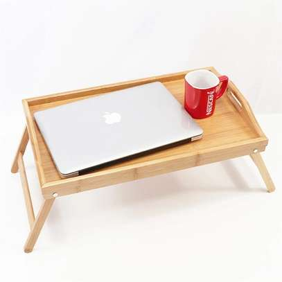 Breakfast Bamboo Tray Table with Stands image 1