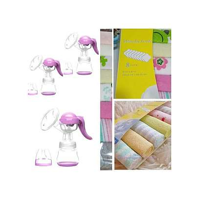 Manual Breast Pump-Premium Brand + 8 Pieces Baby Wash Clothes