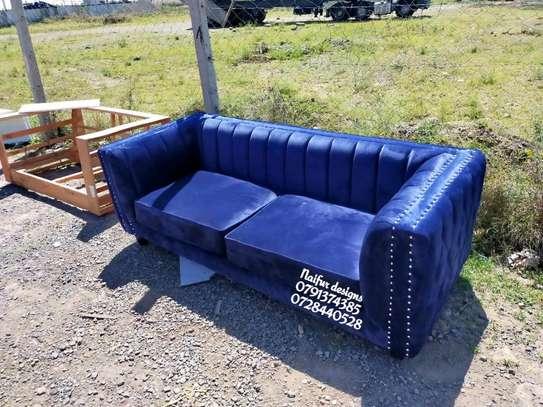 Blue sofas/three seater sofa/modern stripped sofas image 3