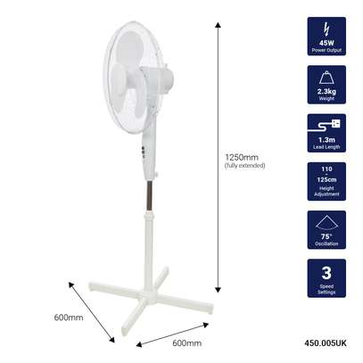 """Oscillating 16"""" Free Standing Pedestal Standing Fan White Adjustable Height image 1"""