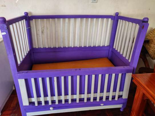 Purple and White Baby Cot image 2