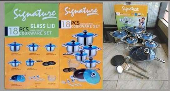 Stainless steel 18pcs induction base cooking pots image 1