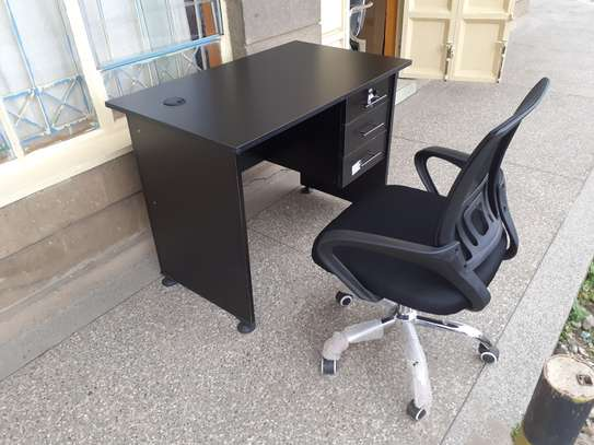 Office Desk 1Meter Black & Chair Ksh. 12,500.00 With Free Delivery image 4