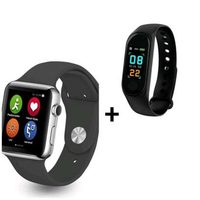 A1 smart watch with free m3 smart bracelet for measuring blood pressure