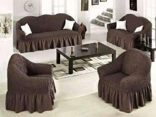 sofa covers 7 sitter dark brown image 1