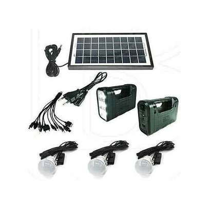 GDLITE Solar Lighting System Kit With 3 LED Lights, Solar Panel, Power Cable And Multiple Phone Charger image 1