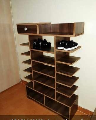 awesome shoe rack with floating shelfs image 2
