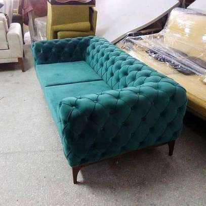 Green chesterfield three seater sofa image 1