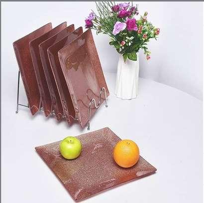 6 piece ceramic dining set brown image 1