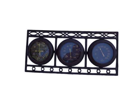 Chic Dark Grey Wall Clock With Thermometer & Hygrometer
