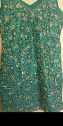 Beautiful green embroidered and stone design attire image 1
