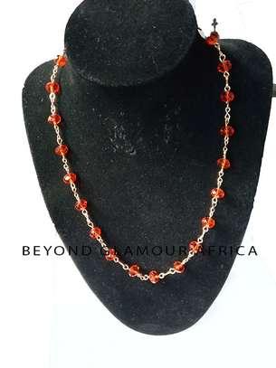 Ladies red Metallic Crystal Necklace image 1