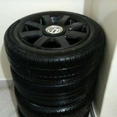 Slightly used car tyres plus rims image 4