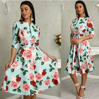 Zipper Up Belted Floral Print Skater Dresses image 1