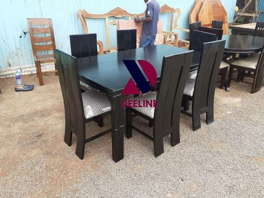 Black rectangular 6 seater dining table sets image 5