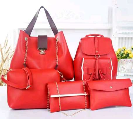 5 in 1 red leather classic ladies handbags image 1