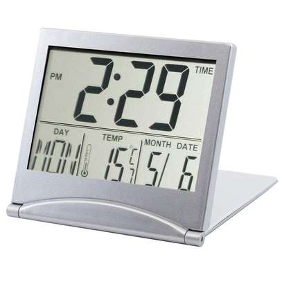 Mini Folding LCD Digital Alarm Clock Desk Table Weather Station Desk Temperature Portable Travel Alarm Clock image 7