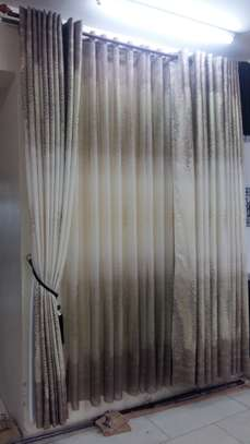 Cream and brown curtains image 1