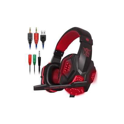 Plextone Gaming Headset for PS4 X Box Laptop Noise Isolation Gaming Headphones - Black and red) image 1