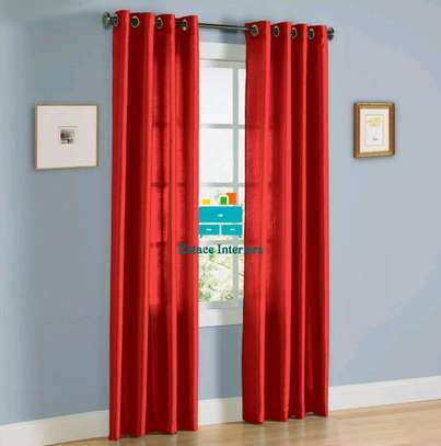 Red plain curtains image 1