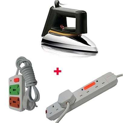 Soarin SR-1172 - Iron box Dry With FREE Small cable And Red Lable 4-way Socket Extension Cable - Silver