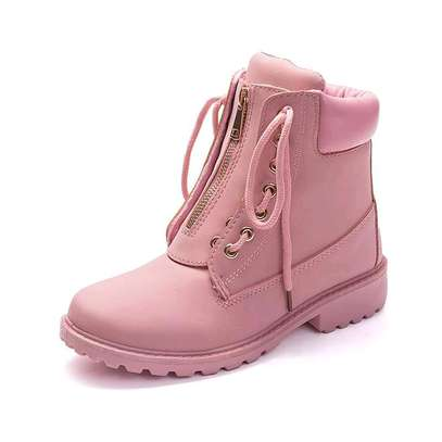 Ladies zip up ankle leather boots image 4