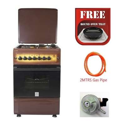 Standing Cooker, 50cm X 55cm, 3 + 1, Electric Oven, Light Brown TDF + Free Round Oven Tray, 13kg Gas Regulator and 2M Gas Pipe