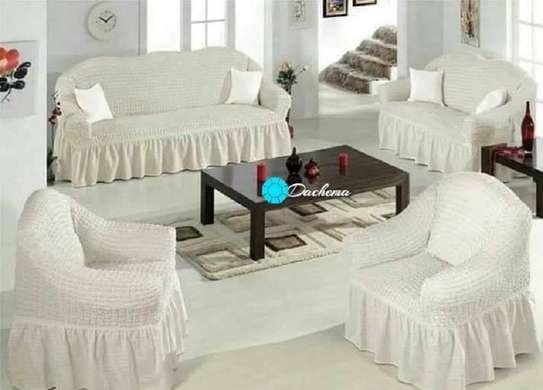 white 5 seater elastic Turkey sofa covers image 1
