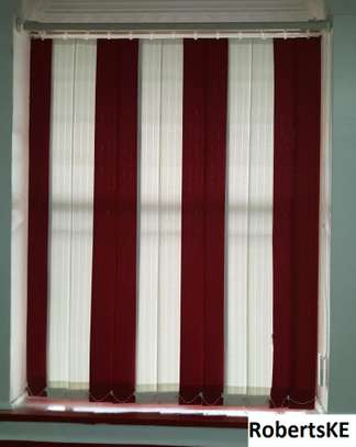 red and white vertical office blind image 2