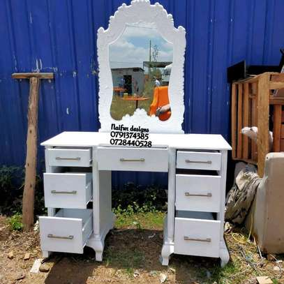 White dresser/modern dresser/dressing table/dressing mirror/dressing table with mirror image 3