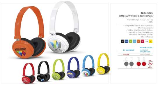 Omega Wired Headphones Branded image 1